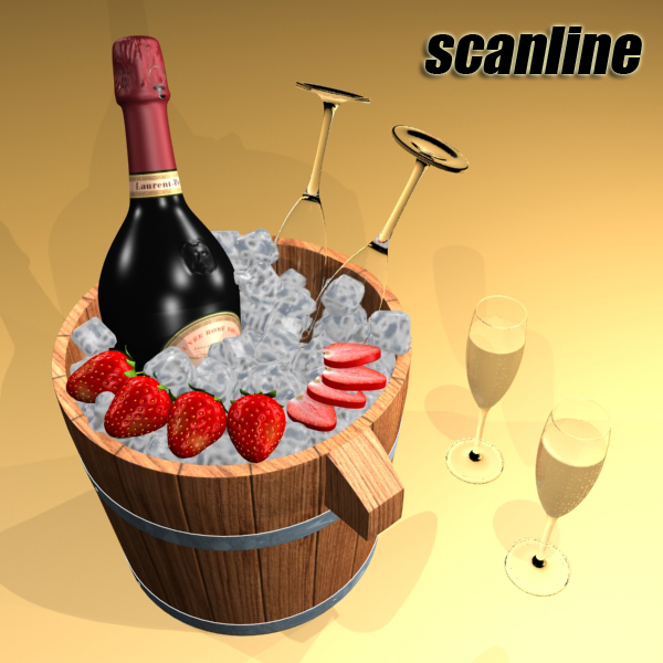 champagne set 2 – bottle, flute, strawberry and wo 3d model 3ds max fbx obj 144478