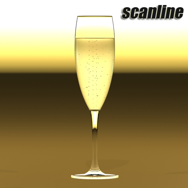 champagne set 2 – bottle, flute, strawberry and wo 3d model 3ds max fbx obj 144486