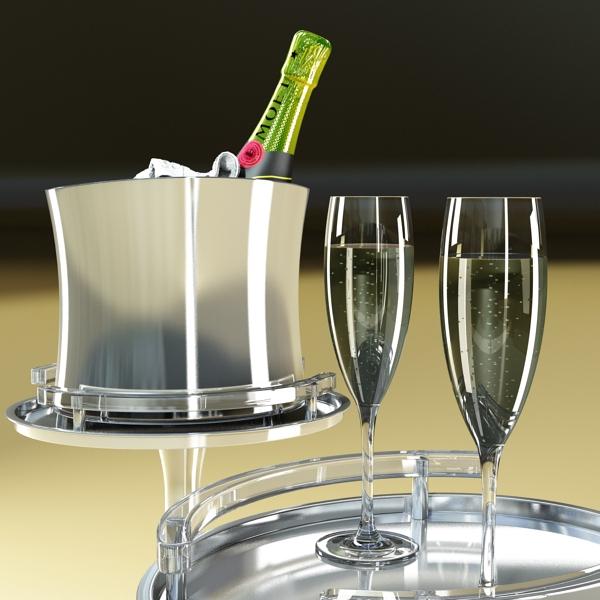 Шампантын багц - лонх, лимбэ болон мөс хувин. 3d загвар 3ds max fbx obj 143845