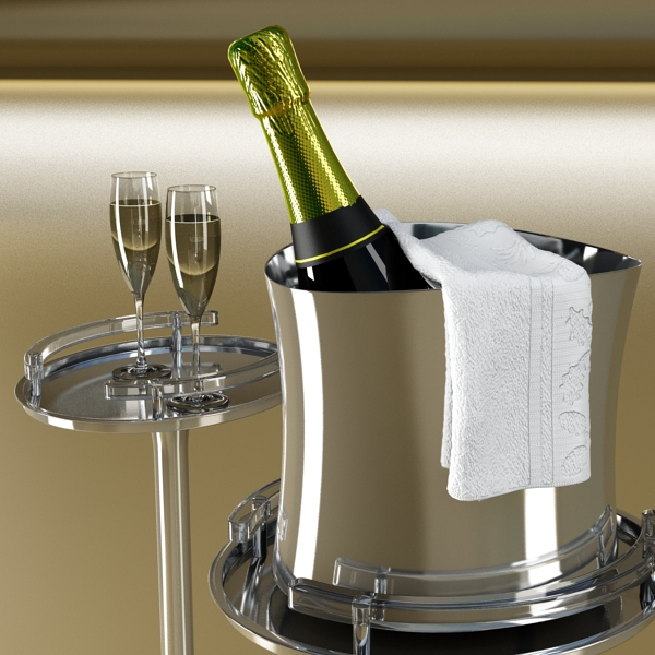 Шампантын багц - лонх, лимбэ болон мөс хувин. 3d загвар 3ds max fbx obj 143846