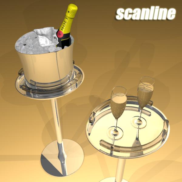 Шампантын багц - лонх, лимбэ болон мөс хувин. 3d загвар 3ds max fbx obj 143850