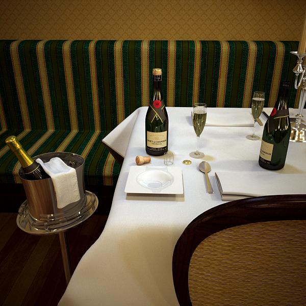 Шампантын багц - лонх, лимбэ болон мөс хувин. 3d загвар 3ds max fbx obj 143851
