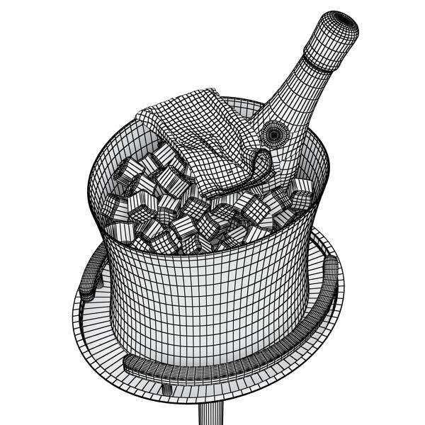 Шампантын багц - лонх, лимбэ болон мөс хувин. 3d загвар 3ds max fbx obj 143852