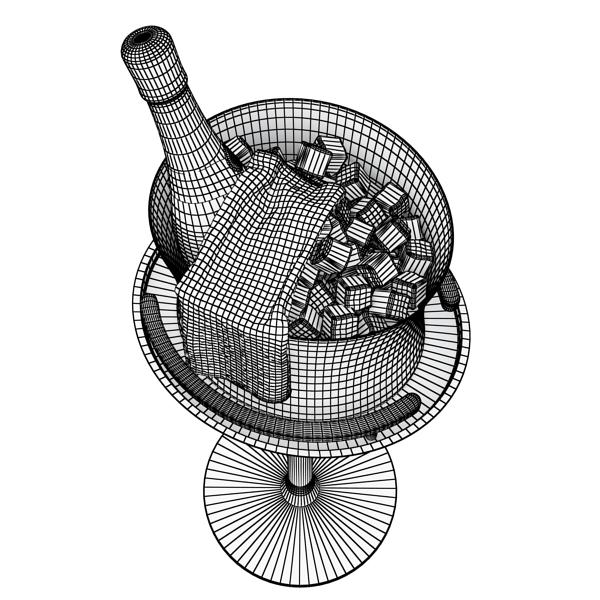 Шампантын багц - лонх, лимбэ болон мөс хувин. 3d загвар 3ds max fbx obj 143853