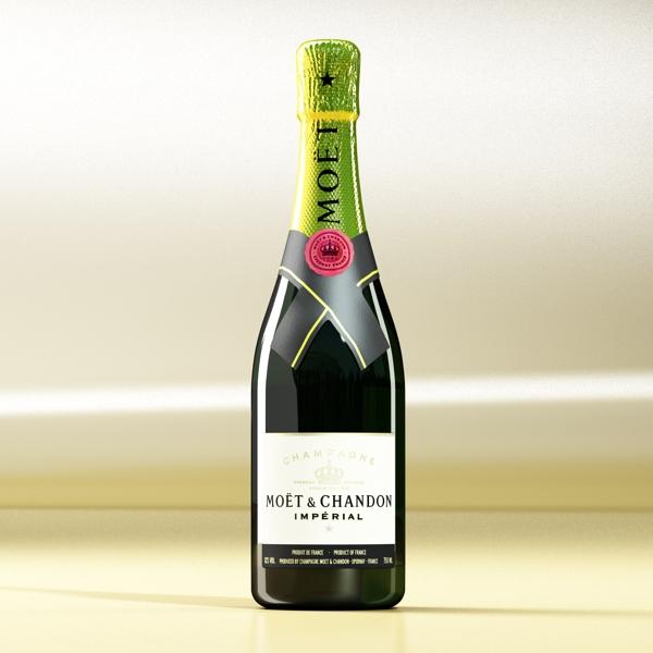 Шампантын багц - лонх, лимбэ болон мөс хувин. 3d загвар 3ds max fbx obj 143854
