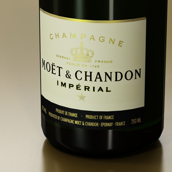 Шампантын багц - лонх, лимбэ болон мөс хувин. 3d загвар 3ds max fbx obj 143859