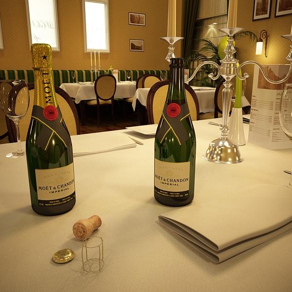 Шампантын багц - лонх, лимбэ болон мөс хувин. 3d загвар 3ds max fbx obj 143861