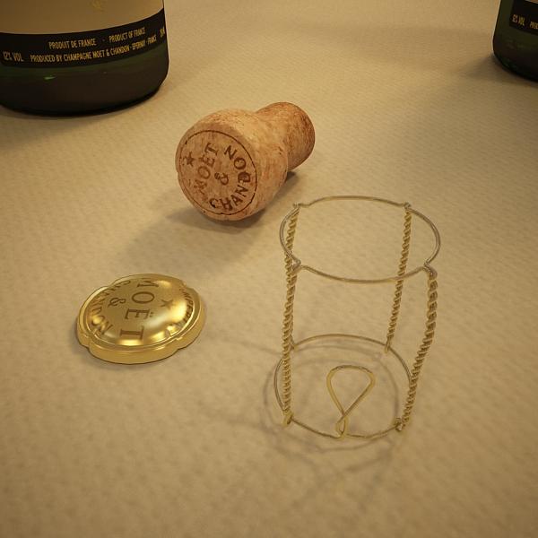 Шампантын багц - лонх, лимбэ болон мөс хувин. 3d загвар 3ds max fbx obj 143862