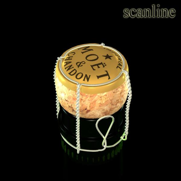 Шампантын багц - лонх, лимбэ болон мөс хувин. 3d загвар 3ds max fbx obj 143863
