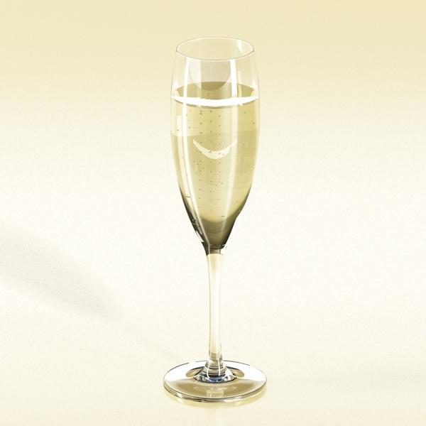 Шампантын багц - лонх, лимбэ болон мөс хувин. 3d загвар 3ds max fbx obj 143869