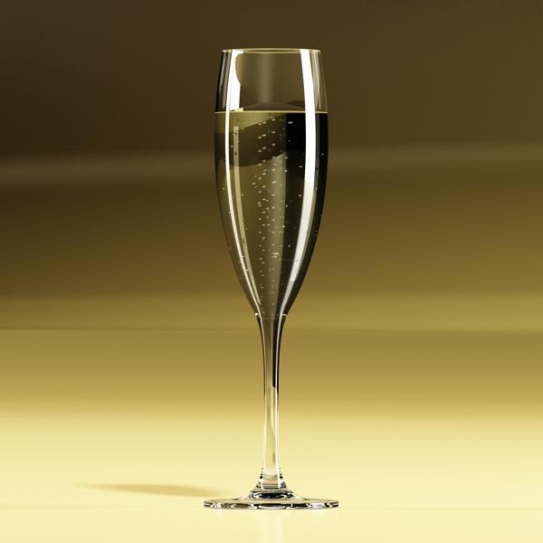 Шампантын багц - лонх, лимбэ болон мөс хувин. 3d загвар 3ds max fbx obj 143870