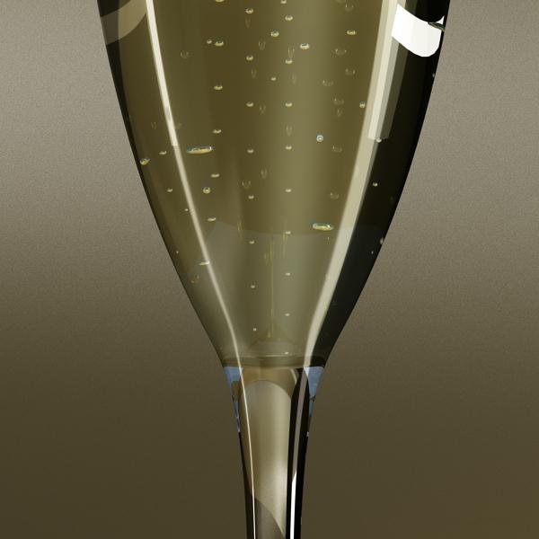 Шампантын багц - лонх, лимбэ болон мөс хувин. 3d загвар 3ds max fbx obj 143872