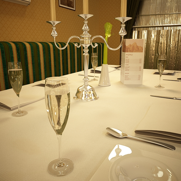 Шампантын багц - лонх, лимбэ болон мөс хувин. 3d загвар 3ds max fbx obj 143873