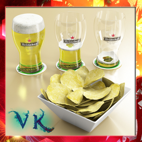 chips bowl and pint of beer 3d model 3ds max fbx obj 147981