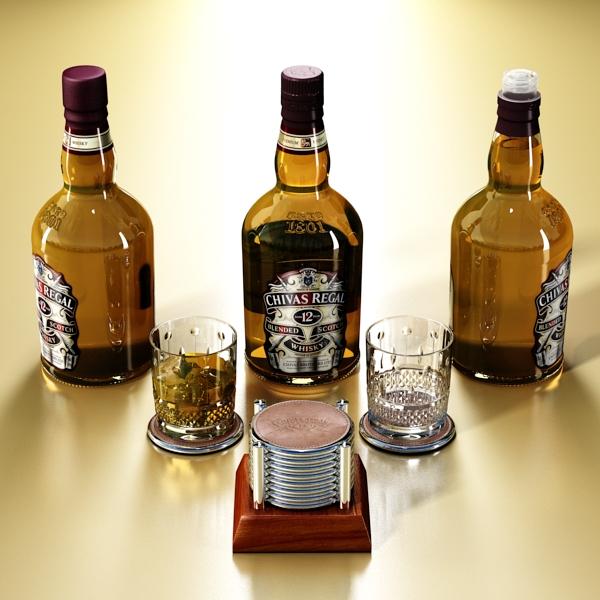 chivas regal bottle, glass and coaster collection 3d model 3ds max fbx obj 139924