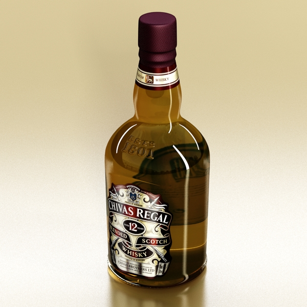 chivas regal bottle, glass and coaster collection 3d model 3ds max fbx obj 139926