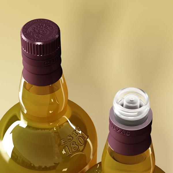 chivas regal bottle, glass and coaster collection 3d model 3ds max fbx obj 139928