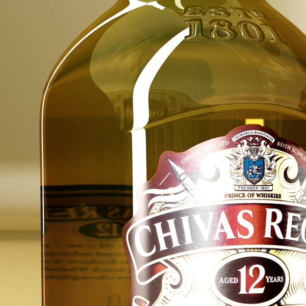 chivas regal bottle, glass and coaster collection 3d model 3ds max fbx obj 139930
