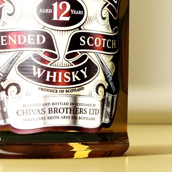 chivas regal bottle, glass and coaster collection 3d model 3ds max fbx obj 139931