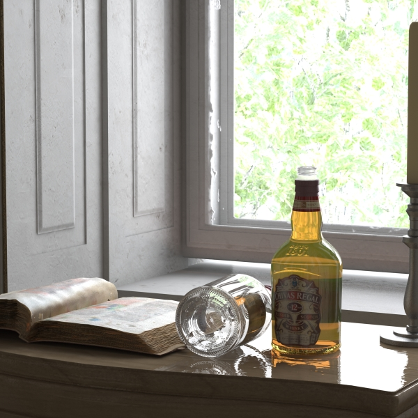 chivas regal bottle, glass and coaster collection 3d model 3ds max fbx obj 139935