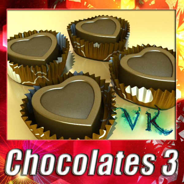 chocolate candy heart shaped 3d model 3ds max fbx obj 132299
