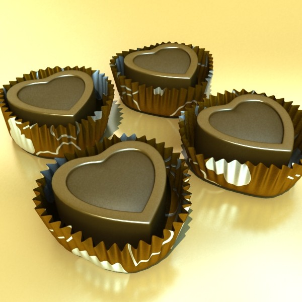 chocolate candy heart shaped 3d model 3ds max fbx obj 132300