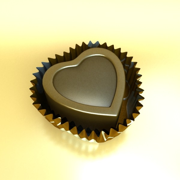 chocolate candy heart shaped 3d model 3ds max fbx obj 132301