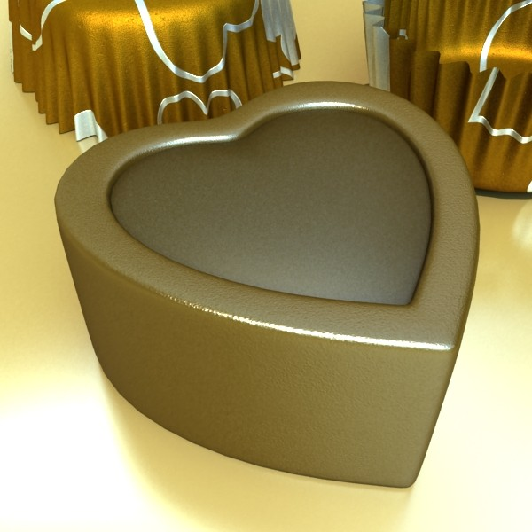 chocolate candy heart shaped 3d model 3ds max fbx obj 132305