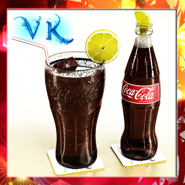 Coke Coca Cola Bottles and Glass