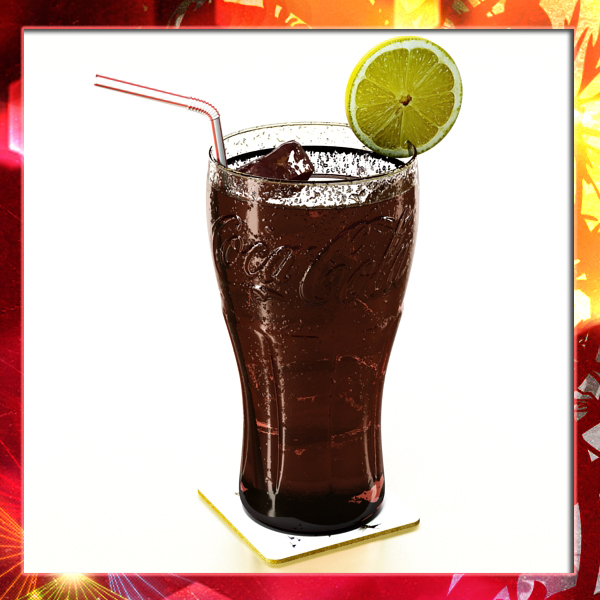 coke coca cola glass, coaster, straw and lemon 3d model 3ds max fbx obj 147716