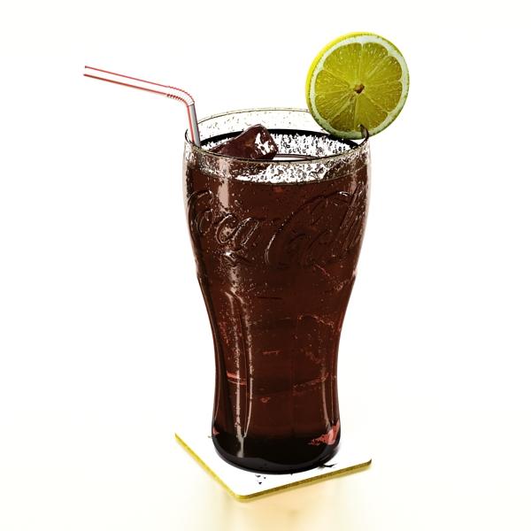 coke coca cola glass, coaster, straw and lemon 3d model 3ds max fbx obj 147717
