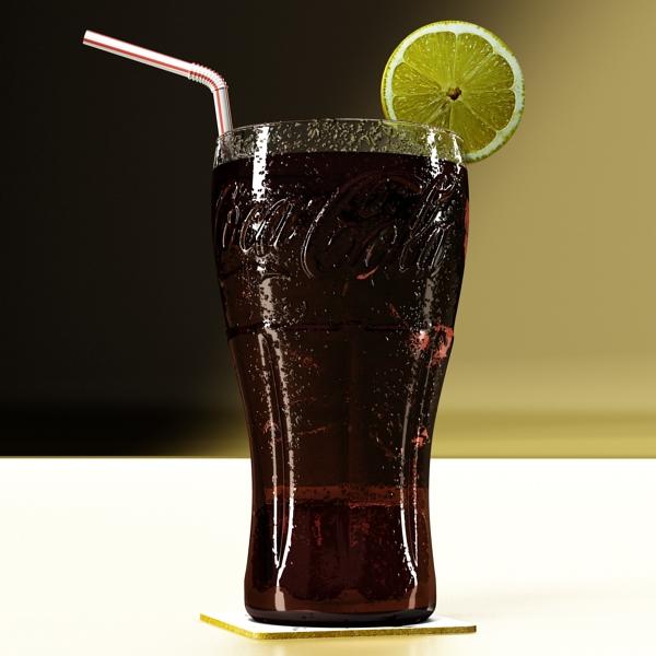 coke coca cola glass, coaster, straw and lemon 3d model 3ds max fbx obj 147718