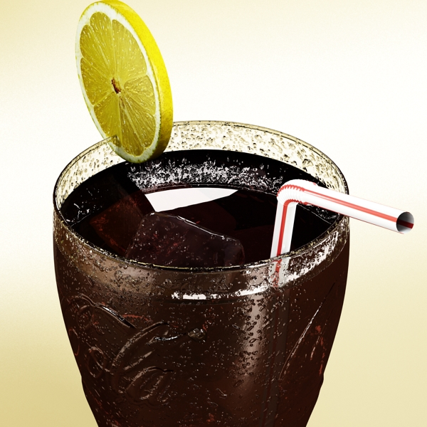 coke coca cola glass, coaster, straw and lemon 3d model 3ds max fbx obj 147719