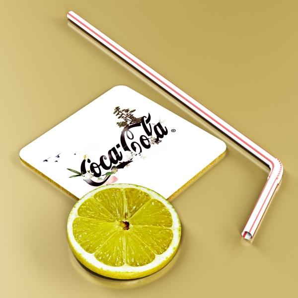 coke coca cola glass, coaster, straw and lemon 3d model 3ds max fbx obj 147724