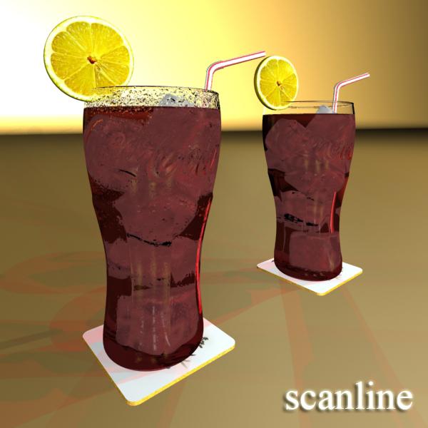 coke coca cola glass, coaster, straw and lemon 3d model 3ds max fbx obj 147725
