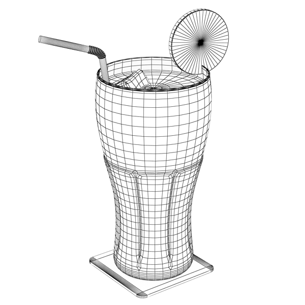 coke coca cola glass, coaster, straw and lemon 3d model 3ds max fbx obj 147726