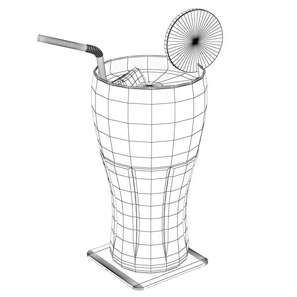 coke coca cola glass, coaster, straw and lemon 3d model 3ds max fbx obj 147727