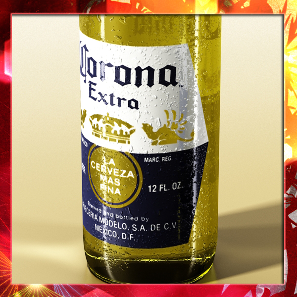 corona beer bottle, coaster and lemon. 3d model 3ds max fbx obj 141033