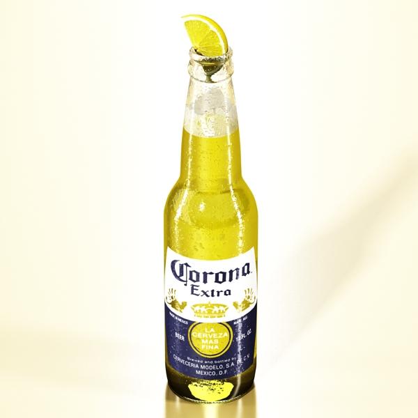 corona beer bottle, coaster and lemon. 3d model 3ds max fbx obj 141034