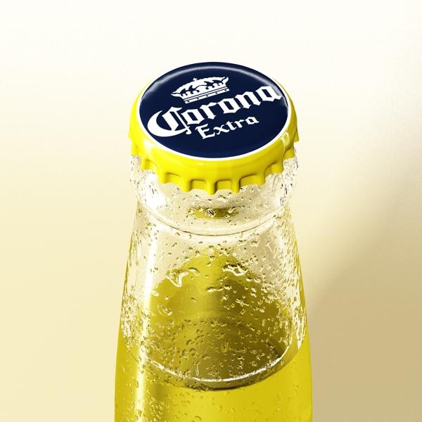 corona beer bottle, coaster and lemon. 3d model 3ds max fbx obj 141036