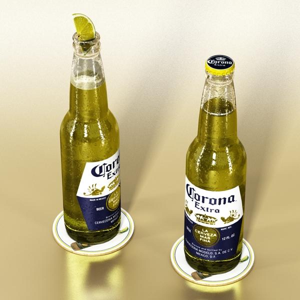 corona beer bottle, coaster and lemon. 3d model 3ds max fbx obj 141038