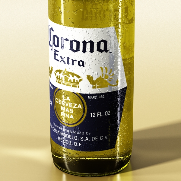 corona beer bottle, coaster and lemon. 3d model 3ds max fbx obj 141039