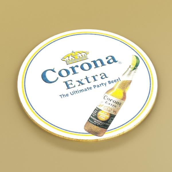 corona beer bottle, coaster and lemon. 3d model 3ds max fbx obj 141041