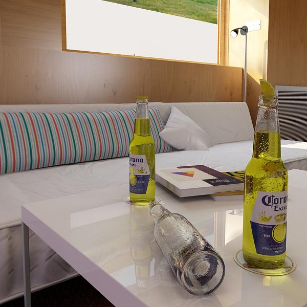 corona beer bottle, coaster and lemon. 3d model 3ds max fbx obj 141045