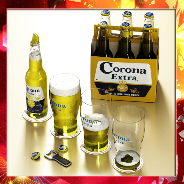 korona beer collection 3d modelo 3ds max fbx obj 141546