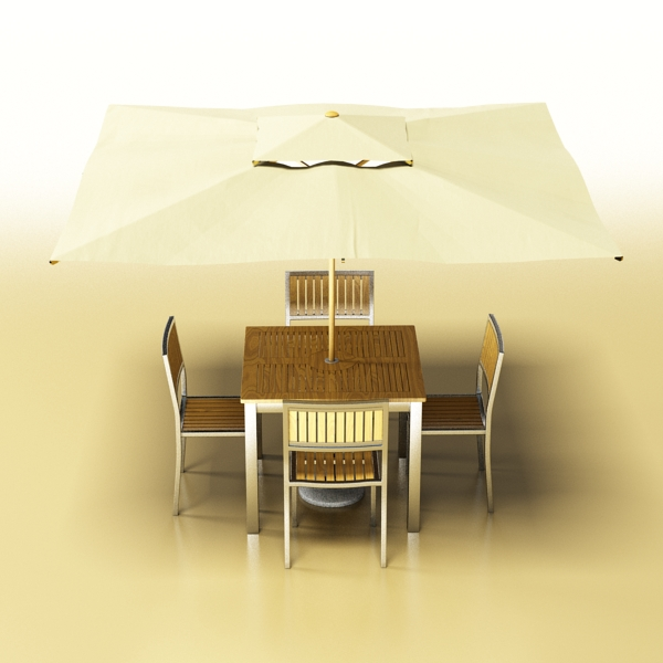 exterior bar table, chair, and parasol 3d model 3ds max obj 148324