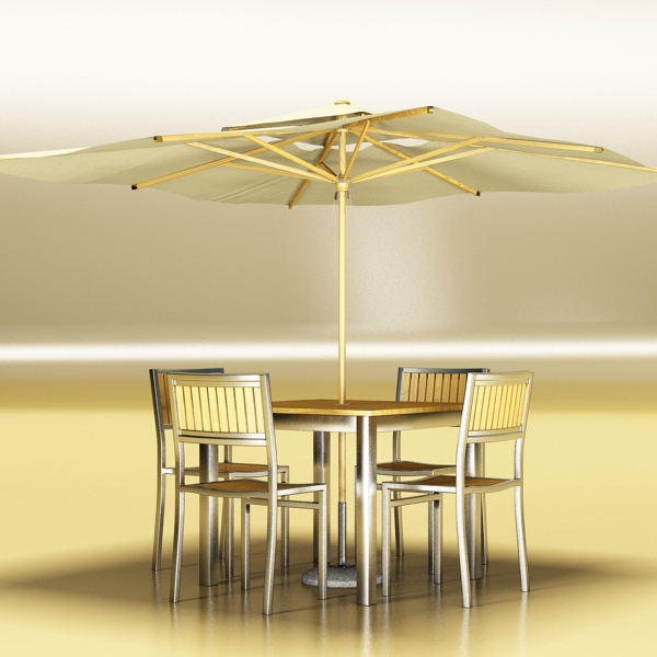 exterior bar table, chair, and parasol 3d model 3ds max obj 148325
