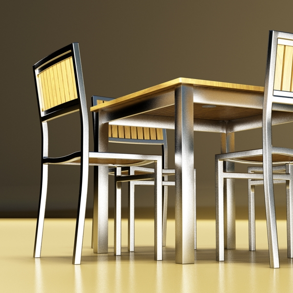 exterior bar table, chair, and parasol 3d model 3ds max obj 148333