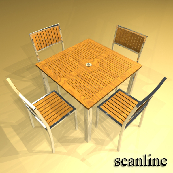 exterior bar table, chair, and parasol 3d model 3ds max obj 148344