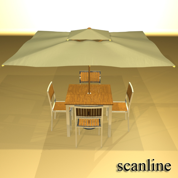 exterior bar table, chair, and parasol 3d model 3ds max obj 148347